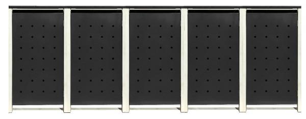 5 Tailor Mülltonnenboxen Basic für 240 Liter Tonnen /Stanzung 1 /Schwarz / Grau