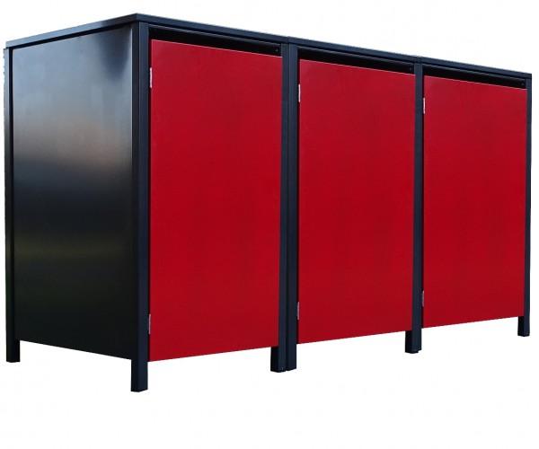 3 Tailor Mülltonnenboxen Basic für 240 L Tonne o.Stanzung Anthrazit / Front Rot