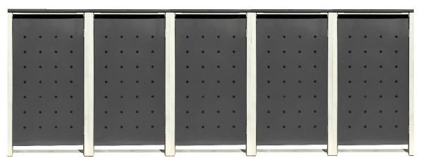 5 Tailor Mülltonnenboxen Basic für 240 Liter Tonnen Stanzung 1 Silbergrau / Grau