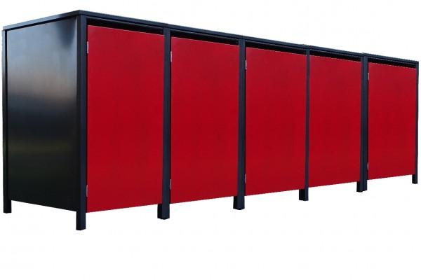 5 Tailor Mülltonnenboxen Basic für 240 L Tonne o.Stanzung Anthrazit / Front Rot