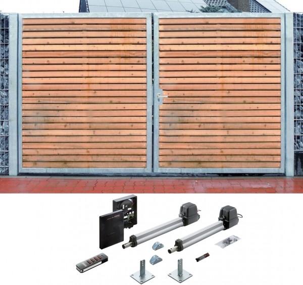 Einfahrtstor Verzinkt Holz Tor quer Sym. 2-flügelig Elektroantrieb 350cm x 180cm