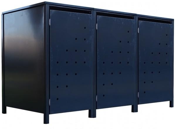 3 Tailor Mülltonnenboxen Basic für 240 Liter Tonne Stanzung 4 komplett Anthrazit