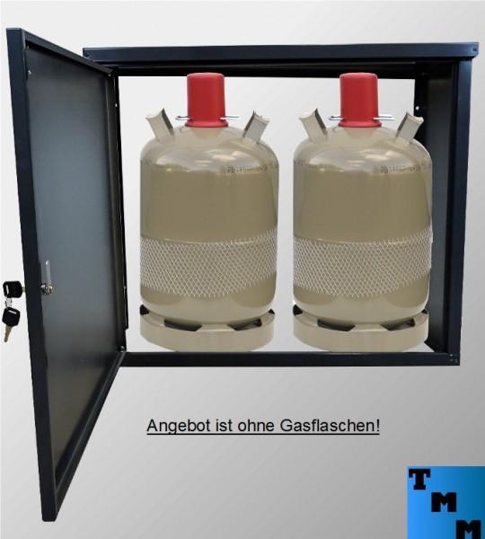 TMM 2x 11kg Gasflaschen-Schrank Anthrazit o.Rückdwand Camping Werkstatt Betrieb