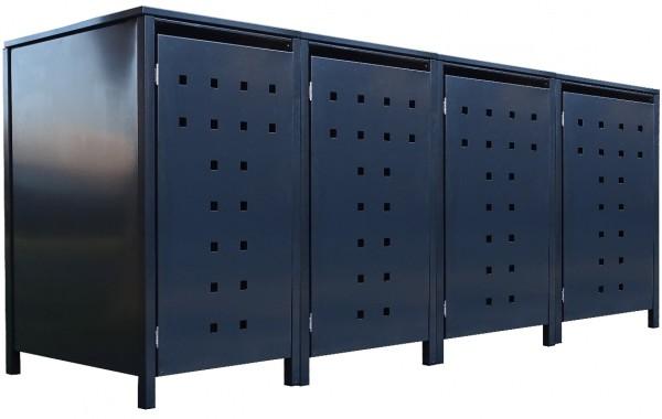 4 Tailor Mülltonnenboxen Basic für 120 Liter Tonne Stanzung 7 komplett Anthrazit