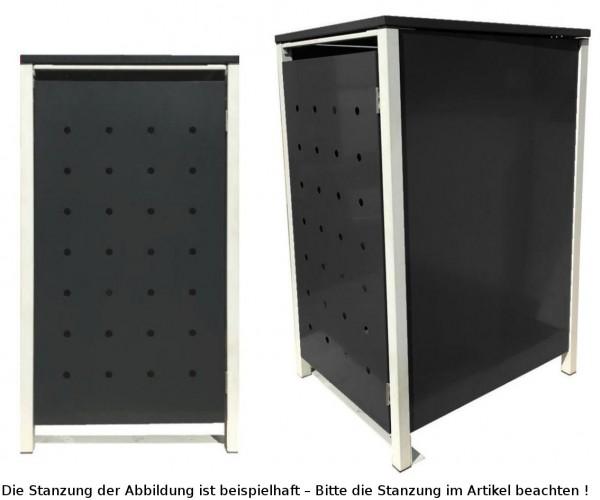 1 Tailor Mülltonnenbox Basic für 240 Liter Tonne /Stanzung 5 /Schwarz / Grau