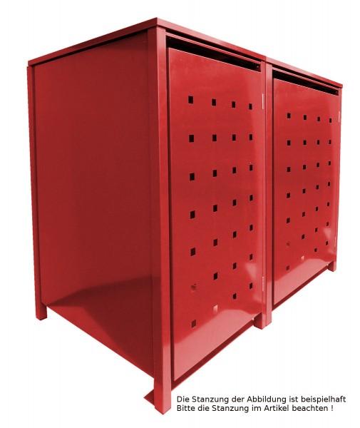 2 Tailor MüllTonnennboxen Basic für 120 Liter Tonnen Stanzung 5 komplett in Rot