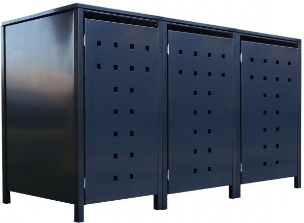 3 Tailor Mülltonnenboxen Basic für 120 Liter Tonne Stanzung 7 komplett Anthrazit