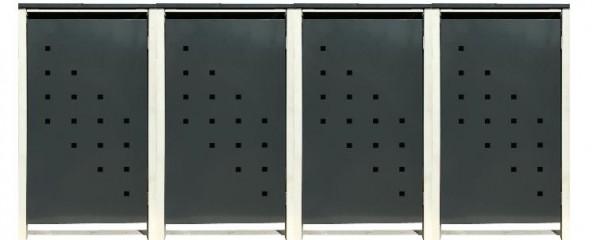 4 Tailor Mülltonnenboxen Basic für 120 Liter Tonne /Stanzung 3 /Anthrazit / Grau
