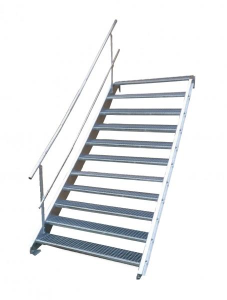 Stahltreppe 11 Stufen-Breite 140cm Variable-Höhe 165-220cm mit einseit. Geländer
