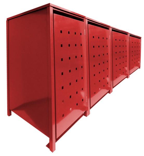 4 Tailor MüllTonnennboxen Basic für 120 Liter Tonnen Stanzung 2 komplett in Rot