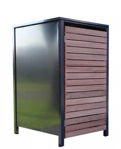 1 Premium Tailor-Mülltonnenbox für 120 Liter Tonne Anthrazit / Front-Edelholz