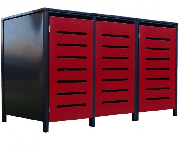 3 Tailor Mülltonnenboxen Basic für 120 Liter Tonne Stanz.6 Anthrazit / Front Rot