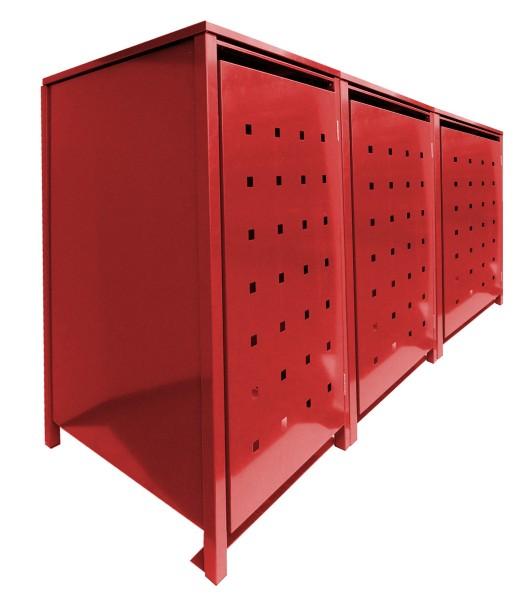 3 Tailor MüllTonnennboxen Basic für 120 Liter Tonnen Stanzung 2 komplett in Rot