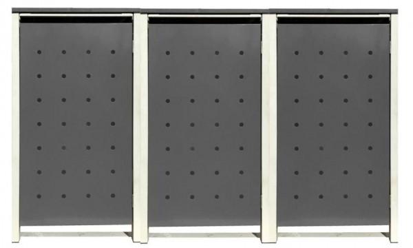 3 Tailor Mülltonnenboxen Basic für 240 Liter Tonnen Stanzung 1 Silbergrau / Grau