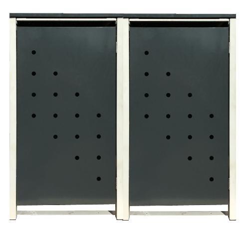2 Tailor Mülltonnenboxen Basic für 240 Liter Tonne /Stanzung 4 /Anthrazit / Grau