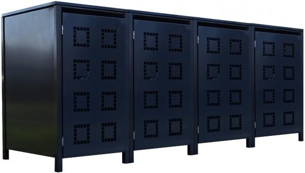 4 Tailor Mülltonnenboxen Basic für 120 Liter Tonne Stanzung 5 komplett Anthrazit