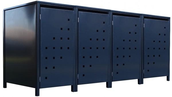 4 Tailor Mülltonnenboxen Basic für 240 Liter Tonne Stanzung 3 komplett Anthrazit