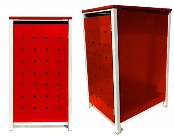 1 Tailor Mülltonnenbox Basic für 240 Liter Tonne / Stanzung 1 / Rot / Grau