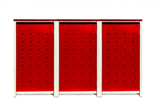3 Tailor Mülltonnenboxen Basic für 240 Liter Tonnen / Stanzung 1 / Rot / Grau