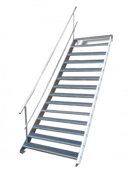 Stahltreppe 14 Stufen-Breite 140cm Variable-Höhe 210-280cm mit einseit. Geländer