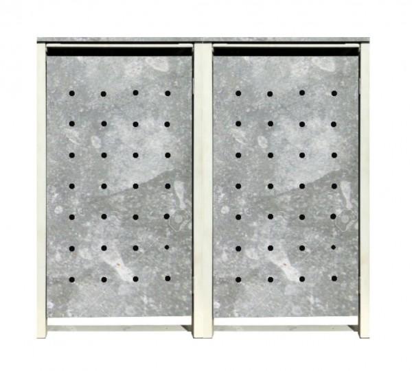 2 Tailor Mülltonnenboxen Basic für 120 Liter Tonnen / Stanzung 1 / Verzinkt / Grau
