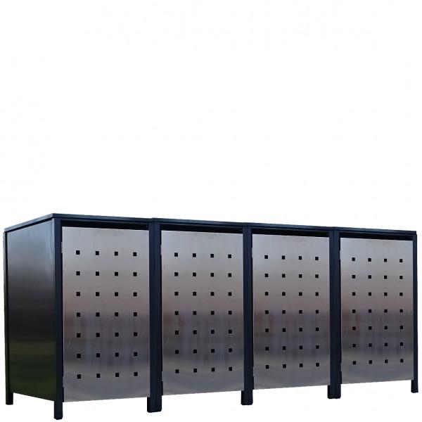 4x Premium 120 Liter Tailor Mülltonnenboxen Stanzung 2 Anthrazit Tür-Edelstahl