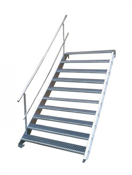 Stahltreppe 10 Stufen-Breite 110cm Variable-Höhe 150-200cm mit einseit. Geländer