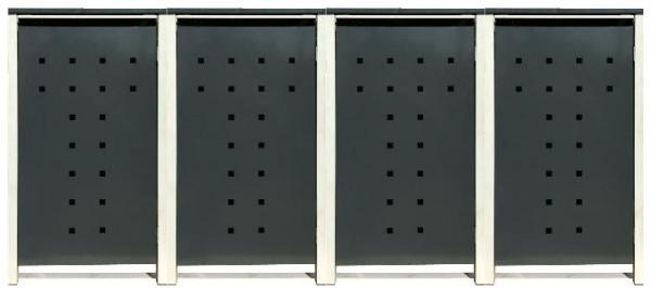 4 Tailor Mülltonnenboxen Basic für 240 Liter Tonne /Stanzung 7 /Anthrazit / Grau