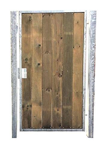 Gartentor Holztor mit Pfosten 105cm x 150cm Tor Pforte Verzinkt Holz senkrecht
