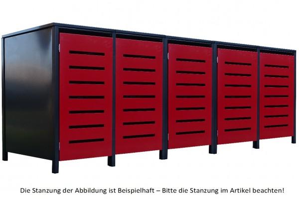 5 Tailor Mülltonnenboxen Basic für 120 Liter Tonne Stanz.2 Anthrazit / Front Rot