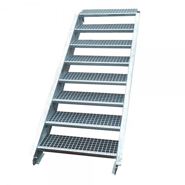 Stahltreppe Treppe 8 Stufen-Stufenbreite 120cm / Geschosshöhe 120-160cm verzinkt