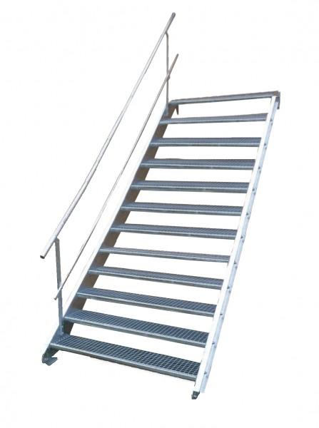 Stahltreppe 12 Stufen-Breite 60cm Variable-Höhe 180-240cm mit einseit. Geländer