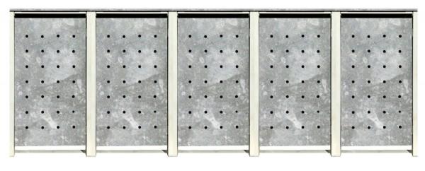 5 Tailor Mülltonnenboxen Basic für 120 Liter Tonnen / Stanzung 1 / Verzinkt / Grau