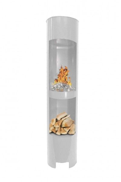 Ethanolkamin Gelkamin Höhe:180cm Breite:37cm Säule Kamin Weiss mit Holzfach