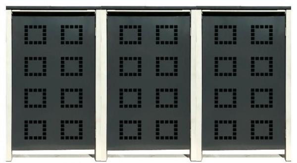 3 Tailor Mülltonnenboxen Basic für 240 Liter Tonne /Stanzung 5 /Anthrazit / Grau