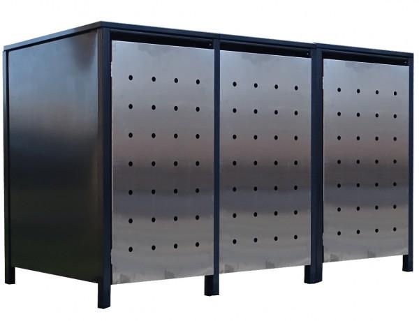 3x Premium 120 Liter Tailor Mülltonnenboxen Stanzung 1 Anthrazit Tür-Edelstahl