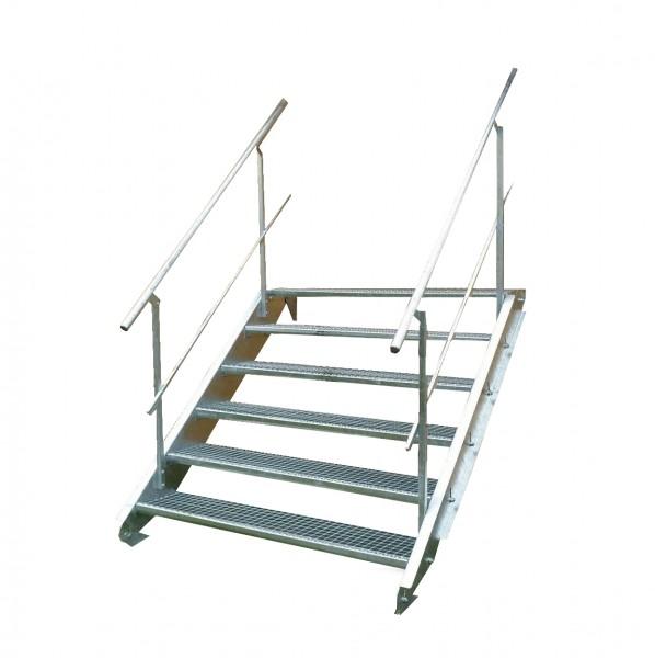 Stahltreppe 6 Stufen-Breite 140cm Variable-Höhe 90-120cm beidseit. Geländer