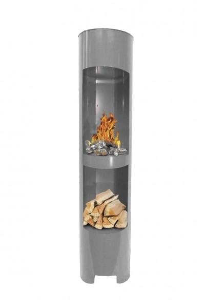 Ethanolkamin Gelkamin Höhe:180cm Breite:37cm Säule Kamin Silber mit Holzfach