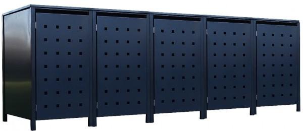5 Tailor Mülltonnenboxen Basic für 120 Liter Tonne Stanzung 2 komplett Anthrazit