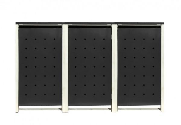 3 Tailor Mülltonnenboxen Basic für 240 Liter Tonnen /Stanzung 1 /Schwarz / Grau