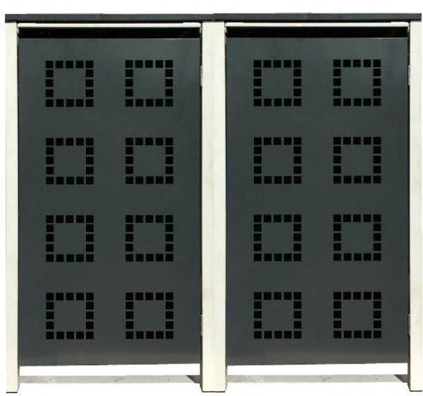 2 Tailor Mülltonnenboxen Basic für 120 Liter Tonne /Stanzung 5 /Anthrazit / Grau