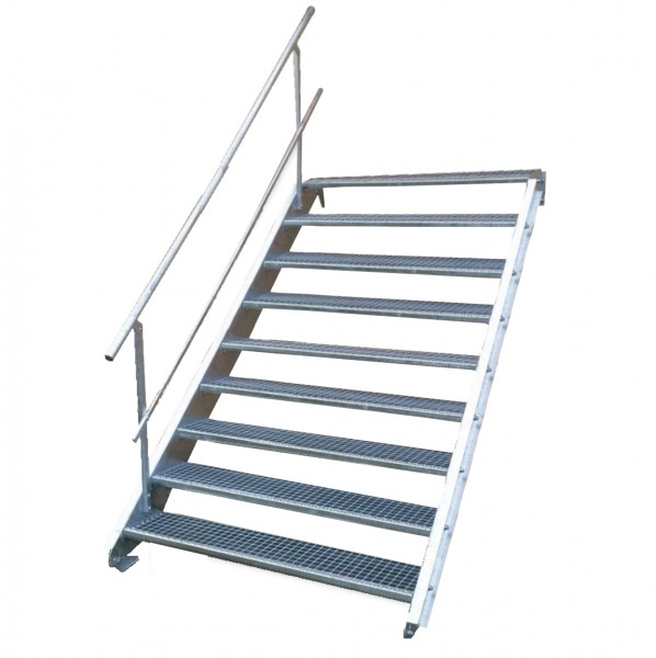 Stahltreppe 9 Stufen-Breite 150cm Variable-Höhe 135-180cm mit einseit. Geländer