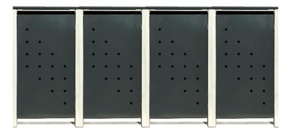 4 Tailor Mülltonnenboxen Basic für 120 Liter Tonne /Stanzung 4 /Anthrazit / Grau