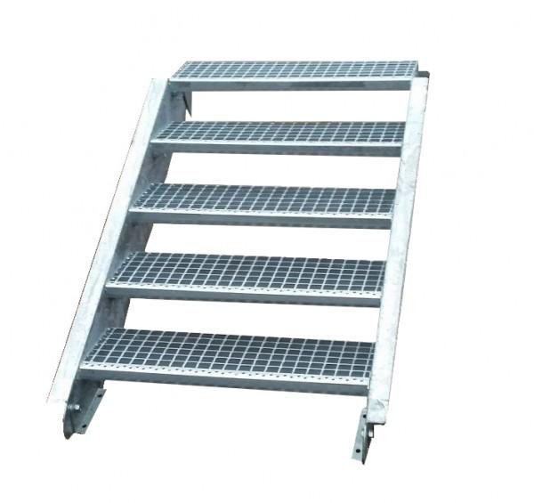 Stahltreppe Treppe 5 Stufen-Stufenbreite 90cm / Geschosshöhe 70-105cm verzinkt