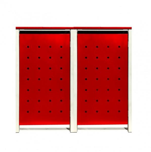 2 Tailor Mülltonnenboxen Basic für 120 Liter Tonnen / Stanzung 1 / Rot / Grau