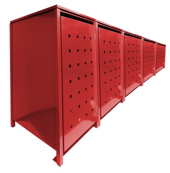 5 Tailor MüllTonnennboxen Basic für 240 Liter Tonnen Stanzung 2 komplett in Rot