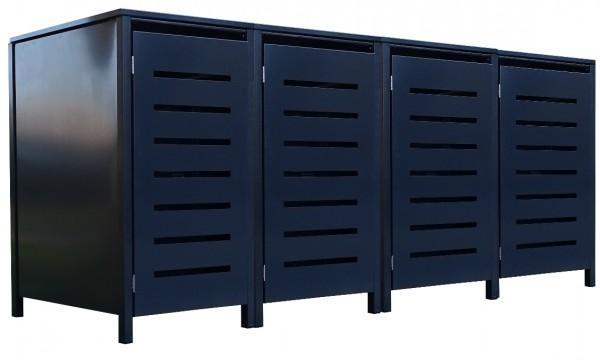 4 Tailor Mülltonnenboxen Basic für 120 Liter Tonne Stanzung 6 komplett Anthrazit