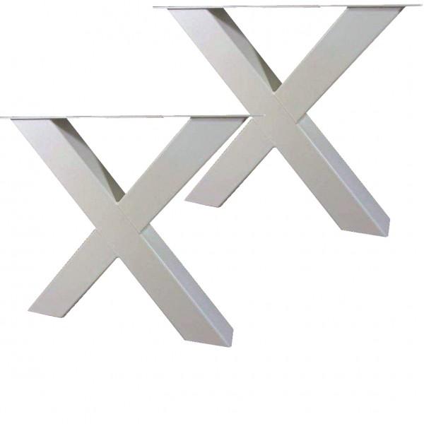 2 Tischgestelle Gestell Breite: 49cm Höhe: 72cm Tischkreuz Stahl Weiss