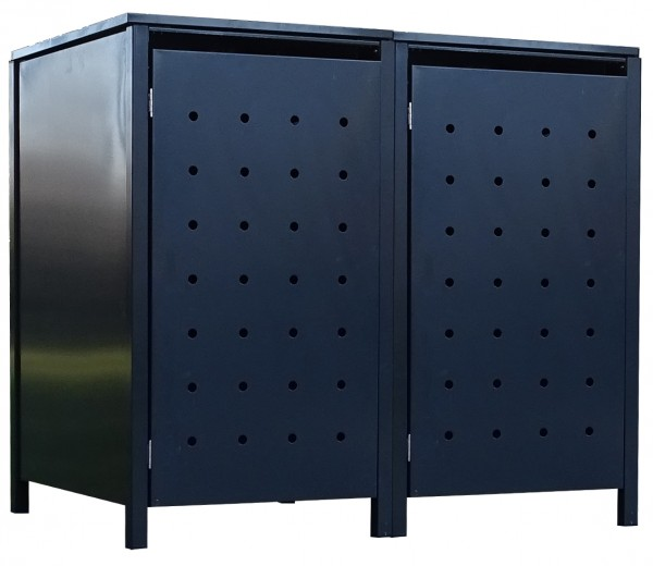2 Tailor Mülltonnenboxen Basic für 120 Liter Tonne Stanzung 1 komplett Anthrazit
