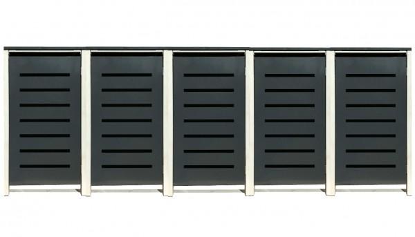 5 Tailor Mülltonnenboxen Basic für 120 Liter Tonne /Stanzung 6 /Anthrazit / Grau